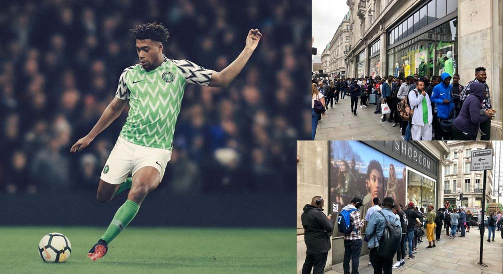 bf2f3b17818 Nigeria World Cup 2018 Home Nike Shirt Sold Out In Minutes As Fans Queue  Around The Block